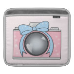 Cute Pink Camera with Blue Bow Sleeve For iPads