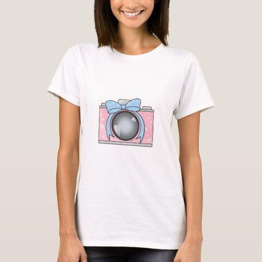 Cute Pink Camera with Blue Bow T-Shirt