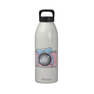 Cute Pink Camera with Blue Bow Drinking Bottle
