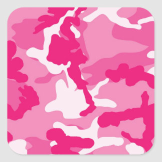 Cute Pink Camouflage Pattern Square Sticker
