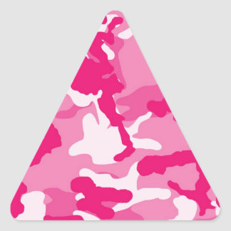 Cute Pink Camouflage Pattern Triangle Sticker