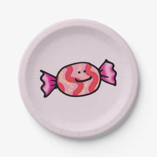 cute pink candy cartoon 7 inch paper plate