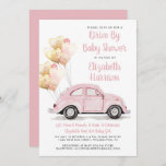 Cute Pink Car Drive By Baby Shower Invitation