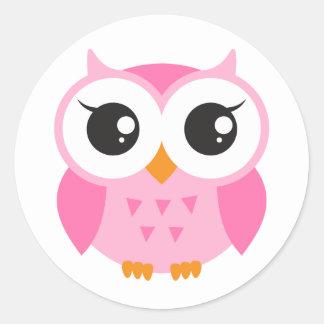 Cute pink cartoon baby owl classic round sticker