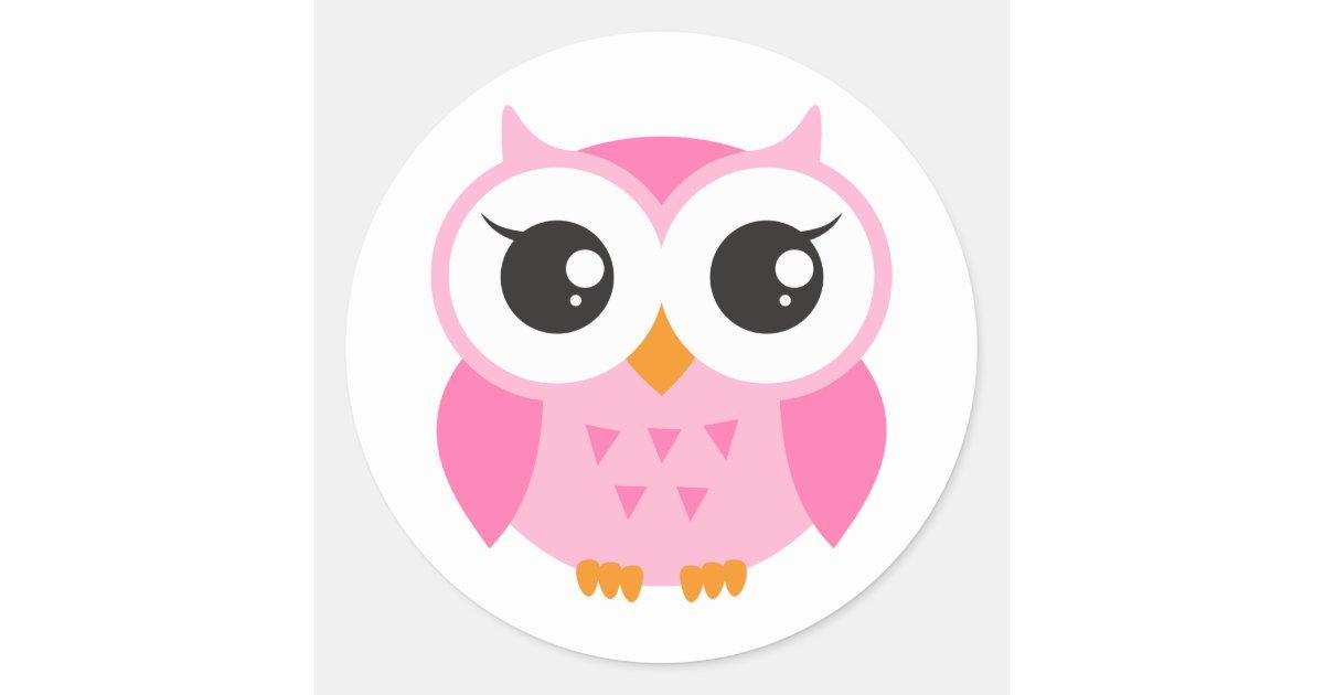 Cute pink cartoon baby owl classic round sticker | Zazzle