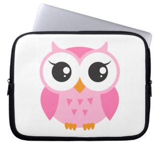 Cute pink cartoon baby owl laptop sleeve