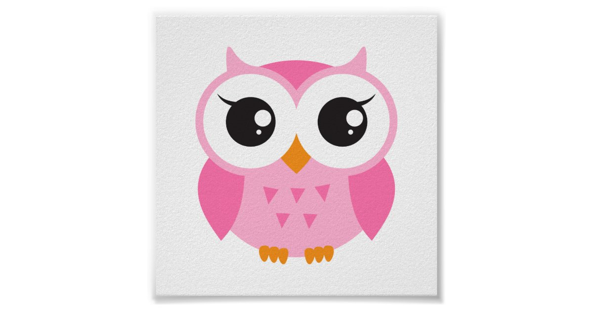 Cute pink cartoon baby owl poster | Zazzle