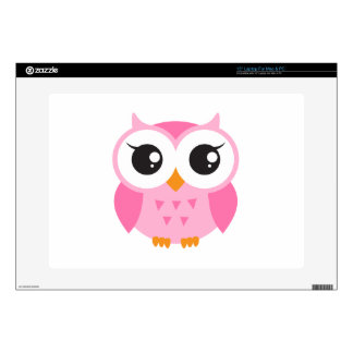 Cute pink cartoon baby owl skins for laptops