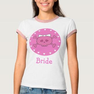 Cute Pink Cartoon Bride Skull T-Shirt