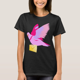 Cute Pink Cartoon Carrier Pigeon T-Shirt