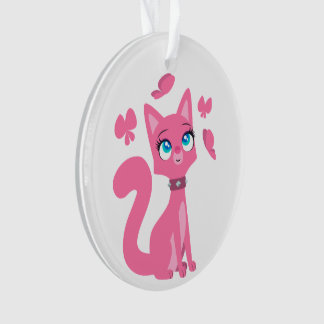 Cute Pink Cartoon Cat and Butterflies Ornament