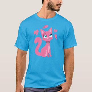 Cute Pink Cartoon Cat and Butterflies T-Shirt