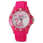 Cute Pink Cartoon Cat and Butterflies Wrist Watch