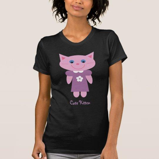 Cute pink cartoon cat black T-shirt