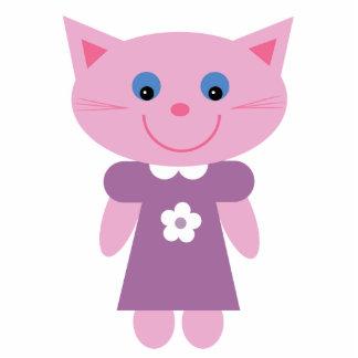 Cute pink cartoon cat brooch / pin cutout