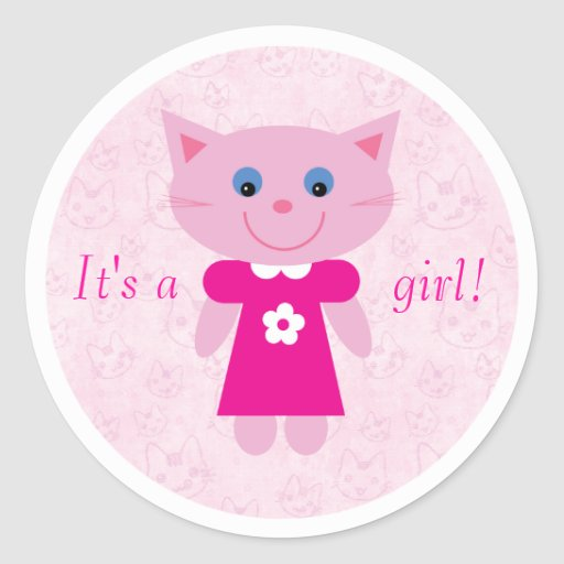 Cute Pink Cartoon Cat Its A Girl New Baby Classic Round Sticker