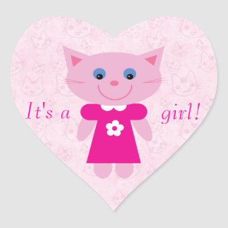 Cute Pink Cartoon Cat Its A Girl New Baby Heart Sticker