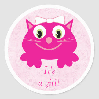 Cute Pink Cartoon Cat Its A Girl New Baby Round Stickers