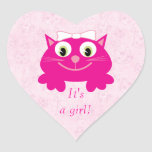Cute Pink Cartoon Cat Its A Girl New Baby Stickers