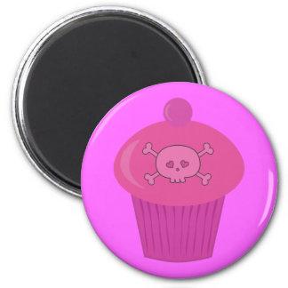 Cute Pink Cartoon Cupcake & Skull 2 Inch Round Magnet
