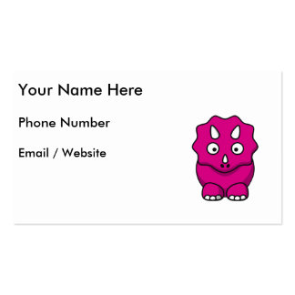 Cute Pink Cartoon Dinosaur Business Card Templates