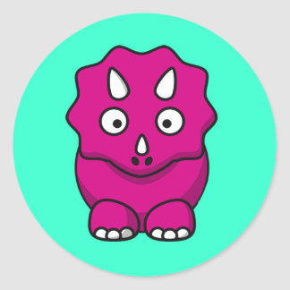Cute Pink Cartoon Dinosaur Classic Round Sticker