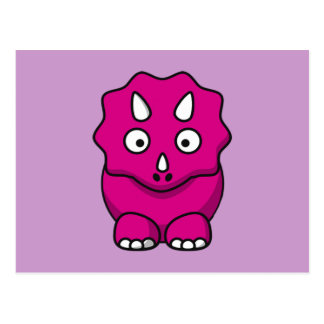 Cute Pink Cartoon Dinosaur Postcard