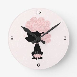 Cute Pink Cartoon French Poodle Clock