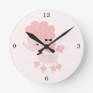 Cute Pink Cartoon French Poodle Clocks