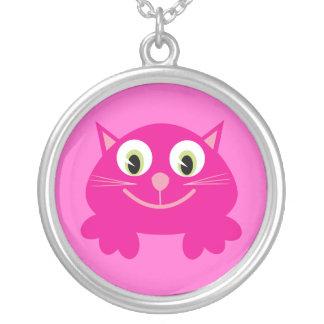 Cute Pink Cartoon Happy Cat Custom Round Pendant Necklace