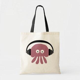 Cute Pink Cartoon Jellyfish DJ With Headphones Tote Bags