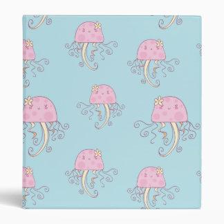 Cute Pink Cartoon Jellyfish Pattern Binder
