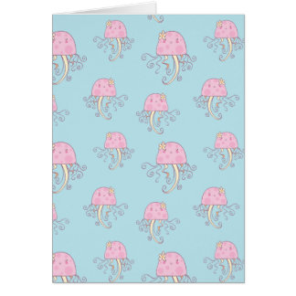 Cute Pink Cartoon Jellyfish Pattern Cards