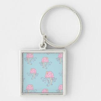 Cute Pink Cartoon Jellyfish Pattern Keychain