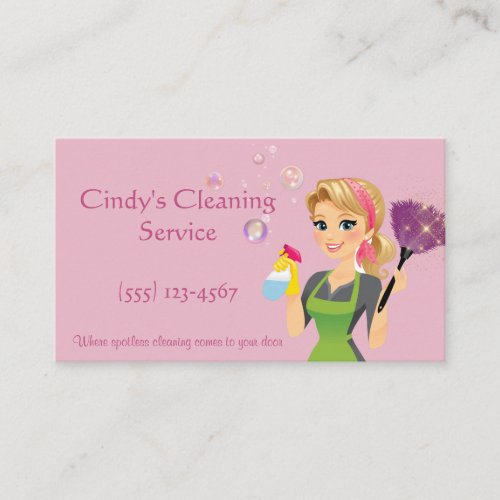 Cute Pink Cartoon Maid House Cleaning Services Business Card