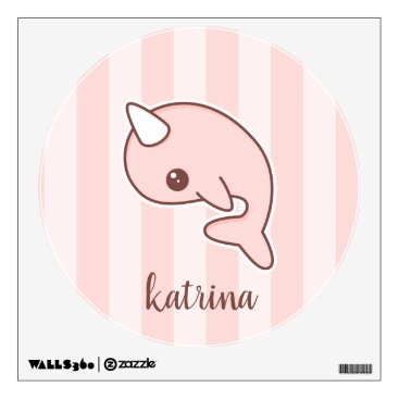 Art Themed Cute Pink Cartoon Narwhal With stripes Wall Decal