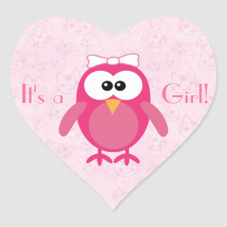 Cute Pink Cartoon Owl & Cats Its A Girl New Baby Heart Sticker