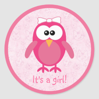 Cute Pink Cartoon Owl & Cats Its A Girl New Baby Round Stickers