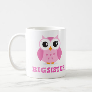 Cute pink cartoon owl girly big sister coffee mug