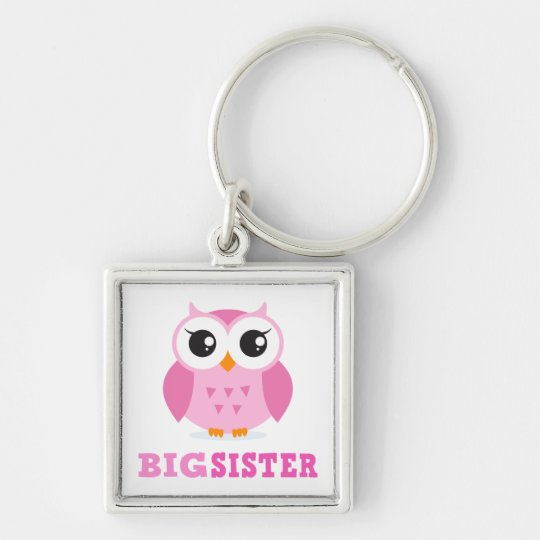 Cute pink cartoon owl girly big sister keychain