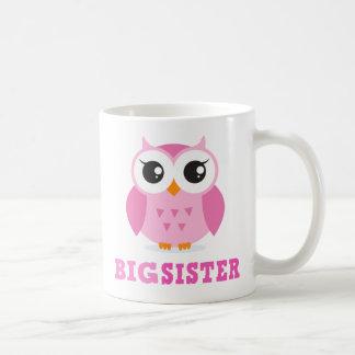 Cute pink cartoon owl girly big sister coffee mug