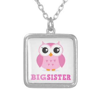 Cute pink cartoon owl girly big sister silver plated necklace