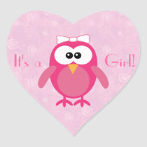 Cute Pink Cartoon Owl Its A Girl New Baby Heart Sticker