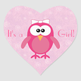 Cute Pink Cartoon Owl Its A Girl New Baby Heart Sticker