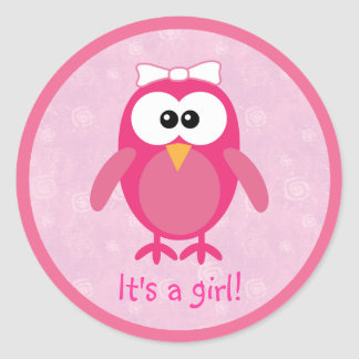 Cute Pink Cartoon Owl Its A Girl New Baby Stickers