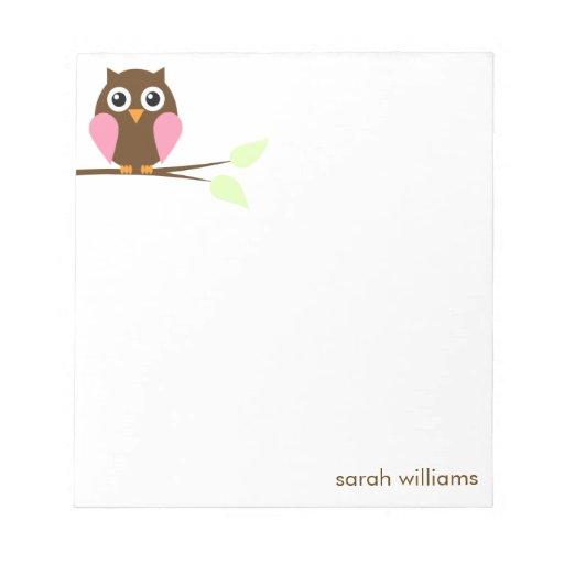 Cute Pink Cartoon Owl Notepad
