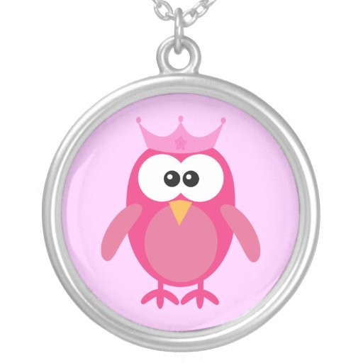 Cute Pink Cartoon Owl Princess With Crown Custom Necklace