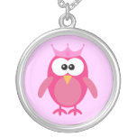 Cute Pink Cartoon Owl Princess With Crown Silver Plated Necklace