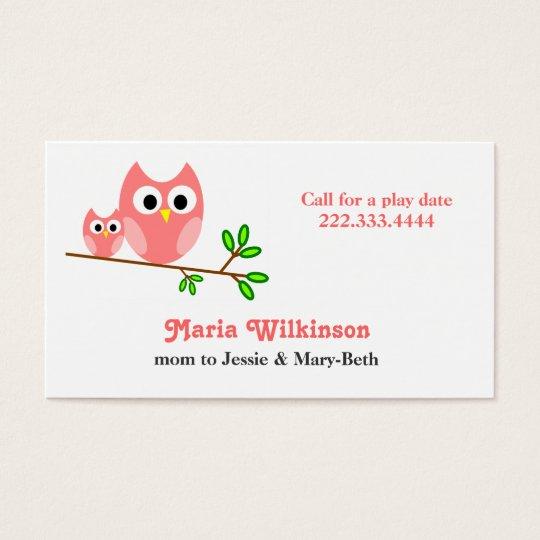 Cute Pink Cartoon Owls Mommy Card