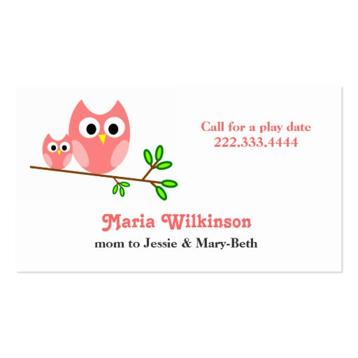 Cute Pink Cartoon Owls Mommy Card Business Card